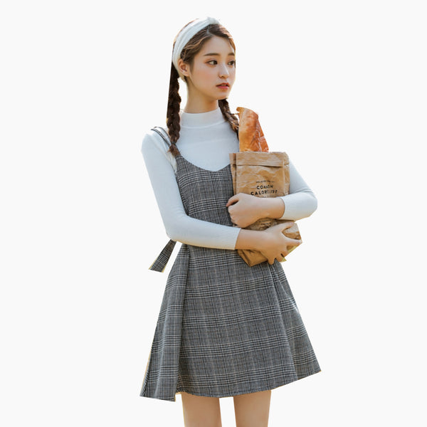 Women's Japanese Harajuku Ulzzang Casual Gray / Grey Plaid Strap Midi Dress Kawaii Cute Clothing For Woman Japan fashion sleeveless mini dresses Trend