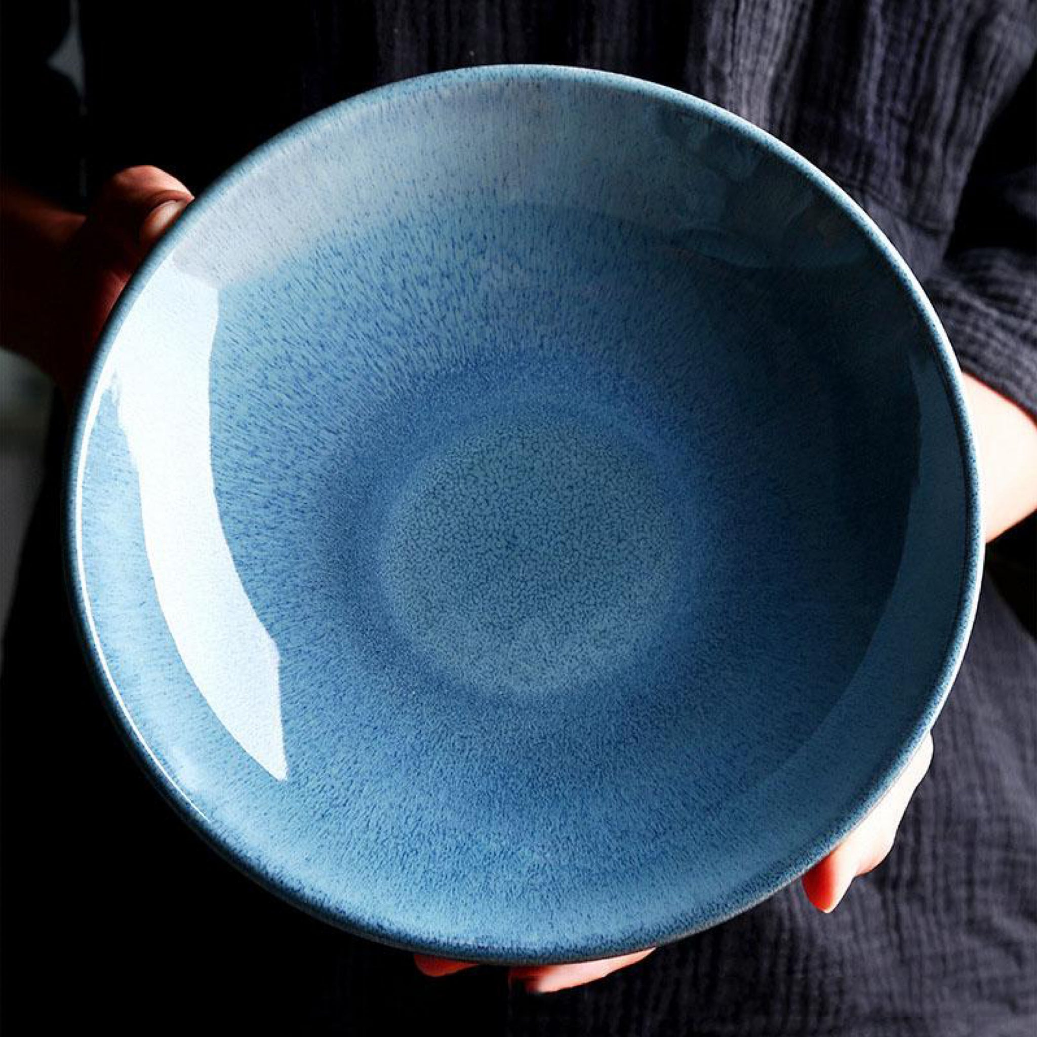 Ceramic bowl kiln glaze blue Japanese 9-inch shallow soup bowl pasta salad bowls Trend