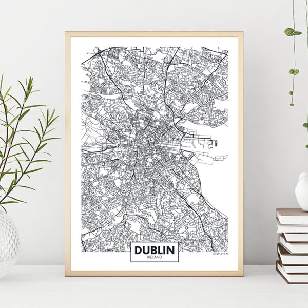 Dublin City Map Poster Irish Wall Art Canvas Painting Ireland Street City Road Map Prints Nordic Posters for Living Room Home Decor Trend