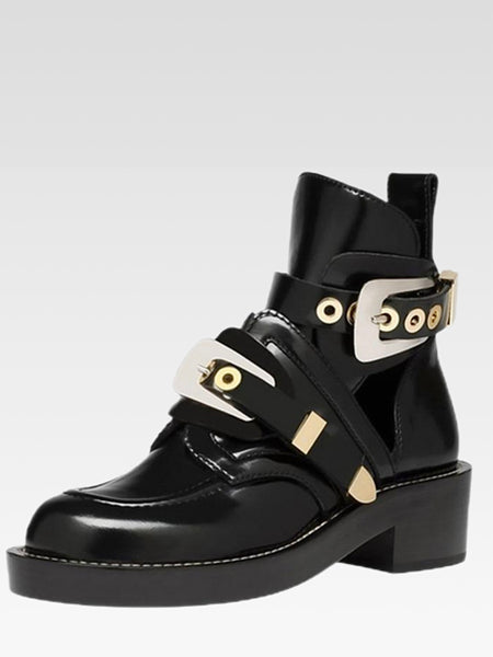 Motorcycle Ankle Boots     British style punk locomotive silver metal buckle Women's microfiber fashion design boots Trend