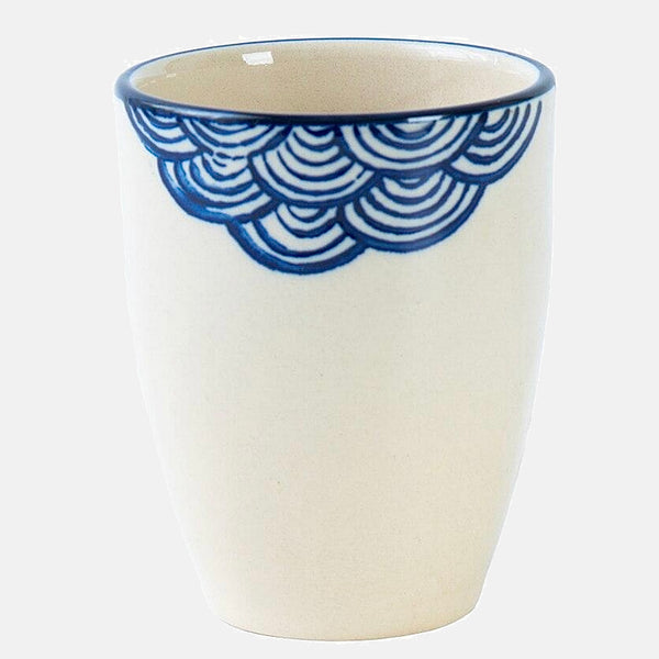 Handmade Ceramic Mug      Japanese traditional waves design blue pigmented bone China pottery cup Japan pottery Trend