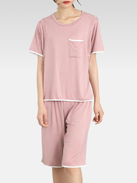 Maternity Breastfeeding PJ Set in Modal   Breast-feeding pink pajamas 2-piece sets top + pants women's sleep pajama loungewear Trend