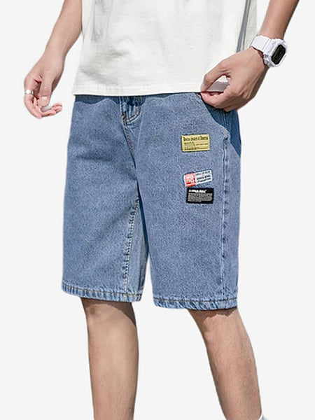 Denim Shorts      Slim Fit Mens's Cowboy Blue Denim Jeans Shorts Streetwear Fashion Trend