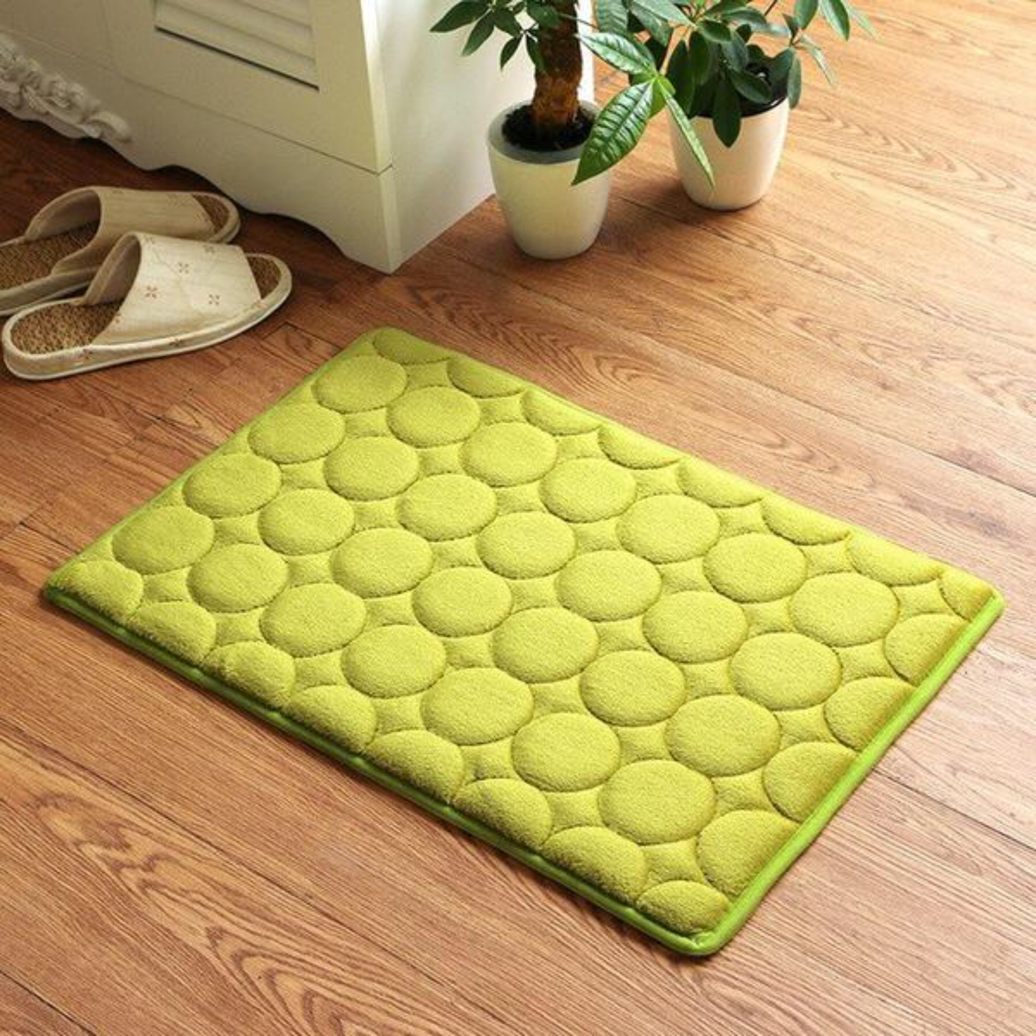 Japanese Yellow Memory Foam Bath Mats Coral Anti-slip Bathroom Carpet Water Absorbing Shower Room Door Mats Foot Pad Washable Bathroom Bedside Rug Japan Home Decor Accessories