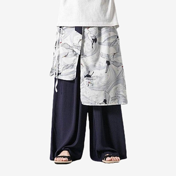 Japanese Harajuku Hanfu Pants       Retro Loose Casual Crane Print Navy Blue Wide Leg Skirt Pants  Mens Japan Zen Trousers Trend