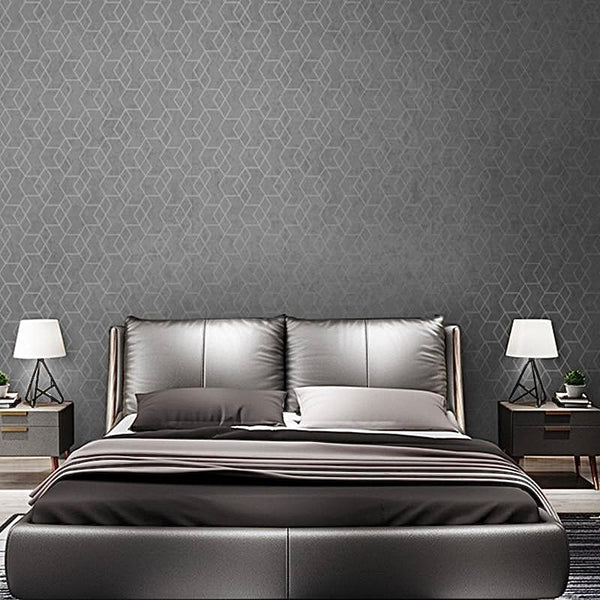 Luxury Geometric Wallpaper Roll Dark Grey / Gray Wall Paper Modern Design Bedroom Living Room Background Home Wall Decor