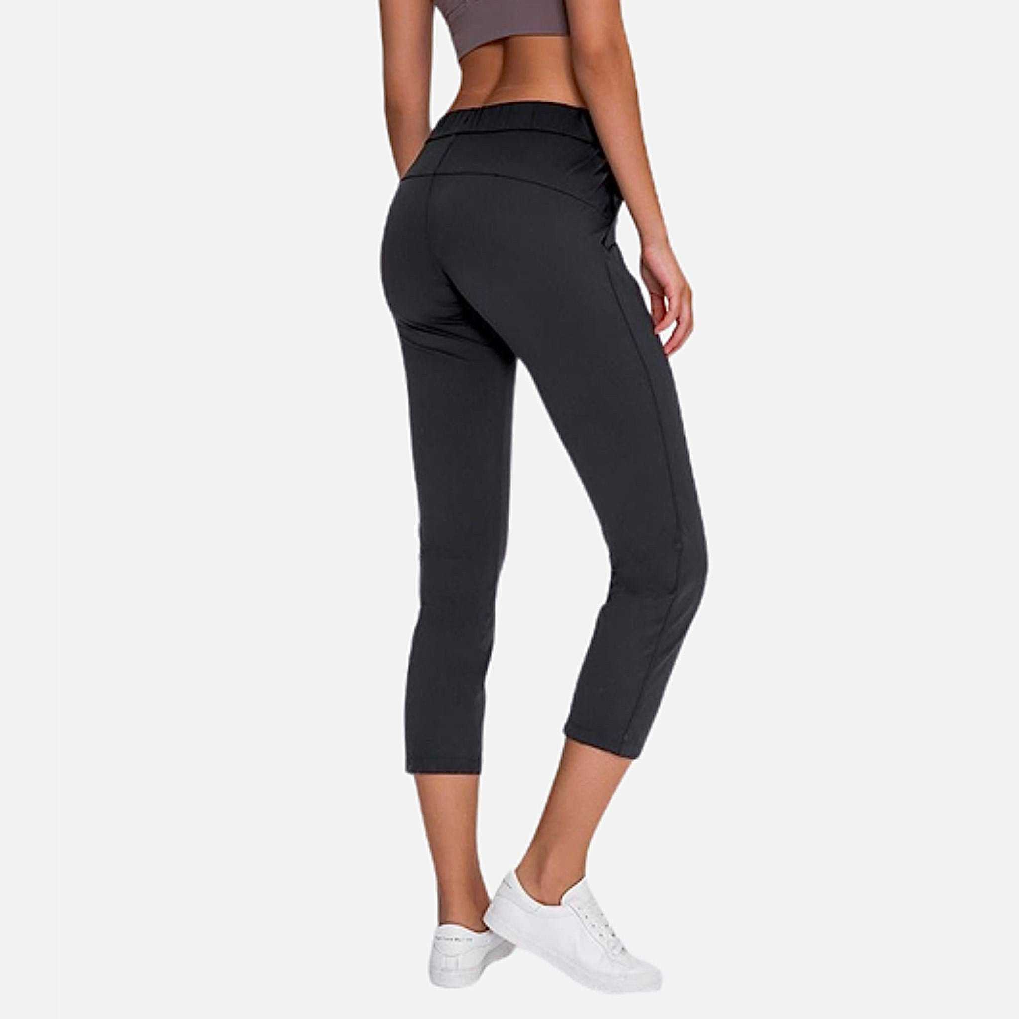 miFit Drawstring Joggers     Cropped mid-rise drawstring waist naked-feel fabric black color Training Gym Yoga Women's Sport Fitness Sportswear Capri Pants
