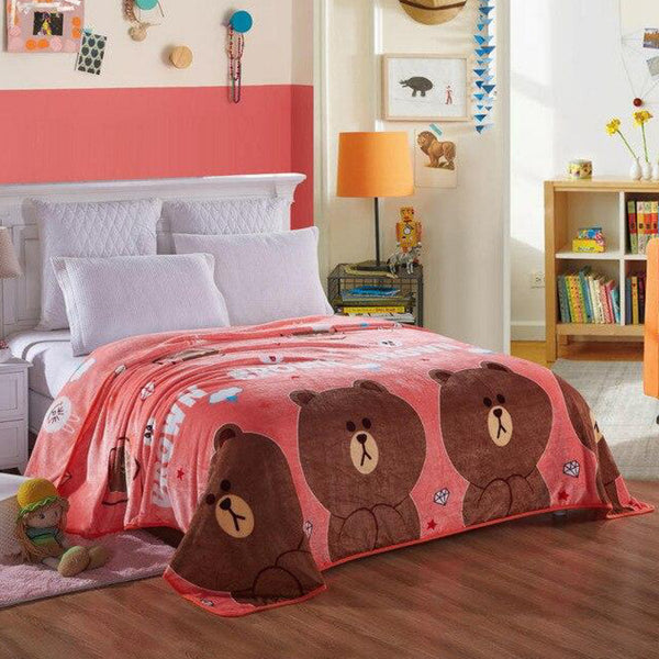 Soft Warm Bear Blanket Throw Plush Thick Fleece Blankets for Sofa Bed Bedroom Home Decor Furnishing Trend