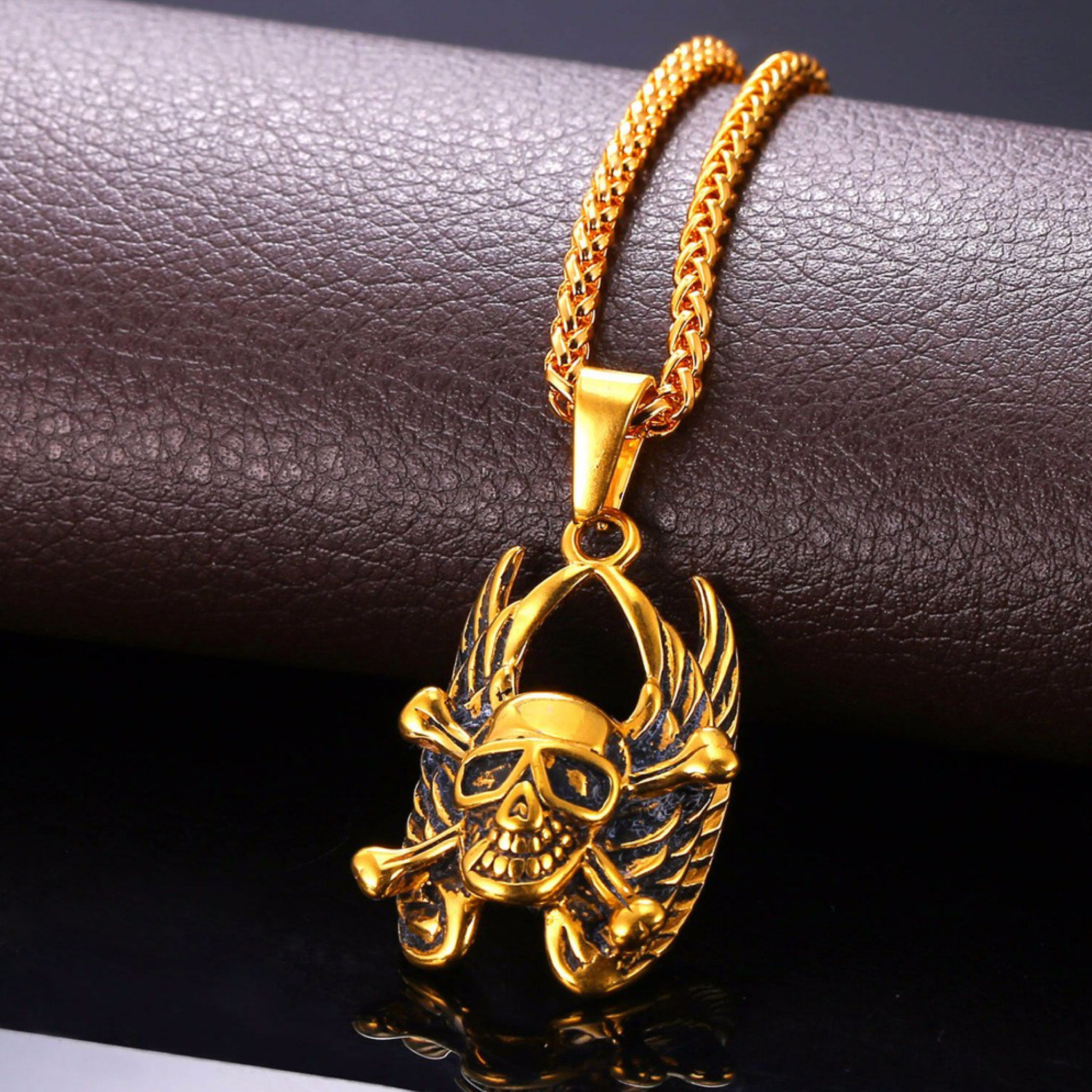 Gothic Skull Gold Necklace