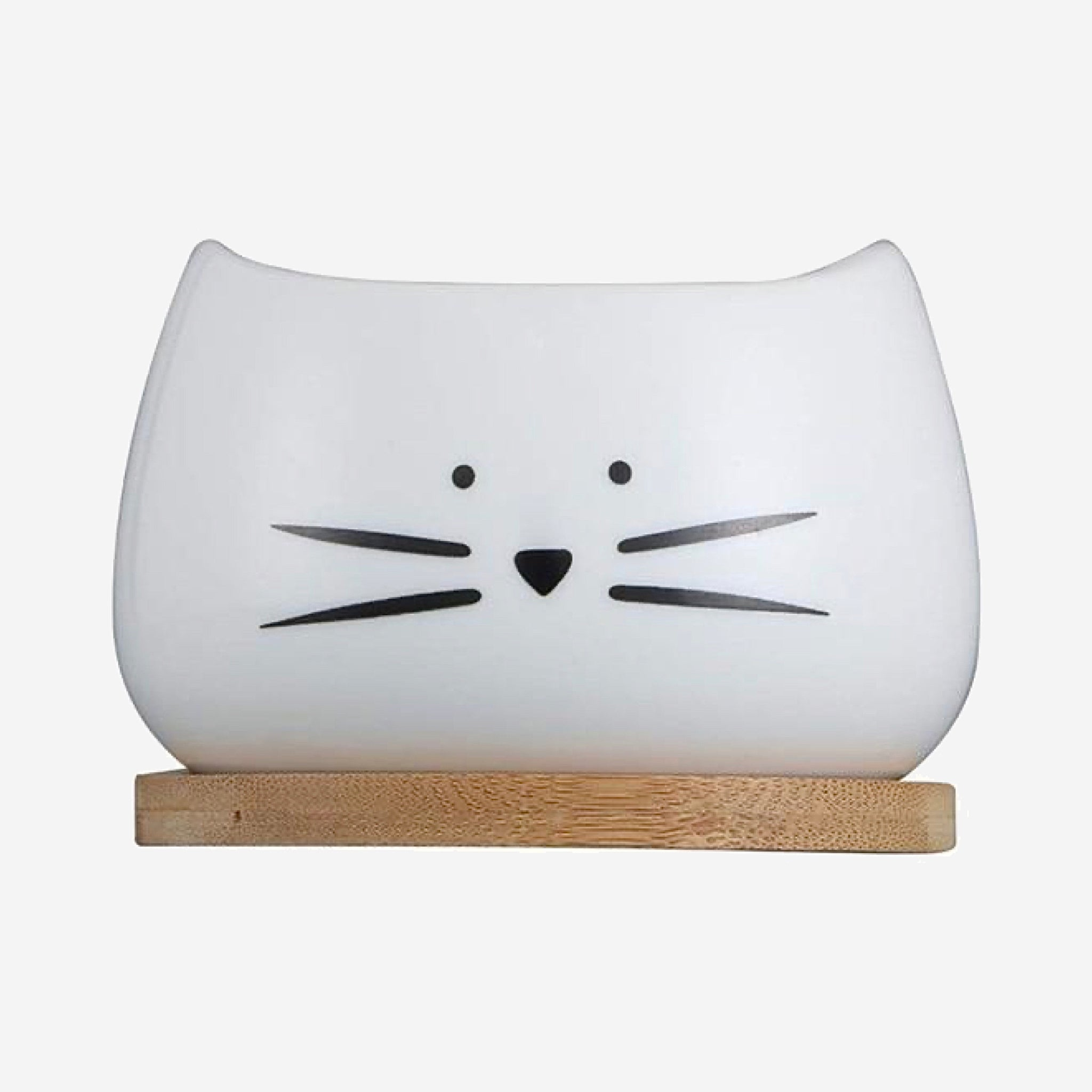 Cute Cat Face Planter Creative White Ceramic Succulent Flower Pot with Bamboo Tray Gardening Pots Trend Black