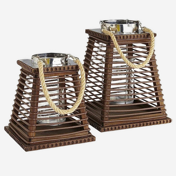 Rattan Wood Candle Holder Glass Windproof Candlestick Candle Table Candles Gift Home Hotel Courtyard Decoration Accessories Trend