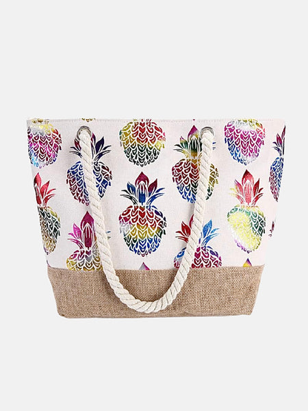 Canvas Tote Bag          Multicolor pineapple print large capacity beach shopping shoulder bags handbag Trend