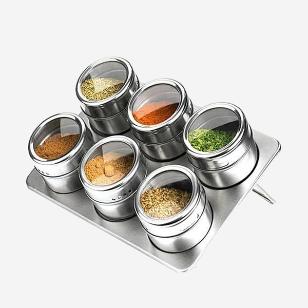Magnetic Spice Rack Set 6 Jar 304 Stainless Steel Salt Shaker Pepper Sprayer for spices Seasoning Box Kitchen Condiment Container Trending
