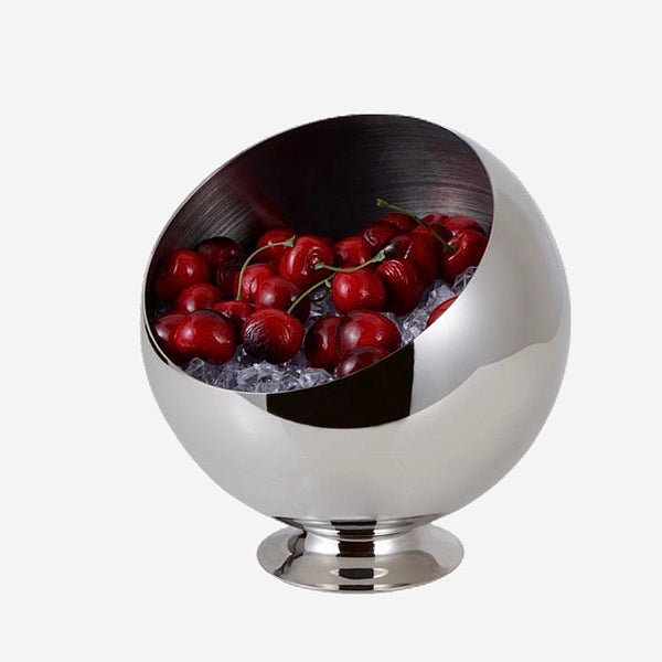 Stainless Steel Oblique Mouth Fruit Bowl Decorative Metal Kitchen Storage Organizer Canister Daily Use Tableware Vessel Trend