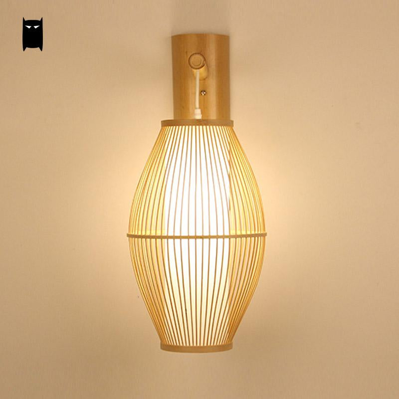 Japanese Bamboo Wicker Rattan Lantern Wall Lam Japan Dining Room Bedroom Lighting Style C