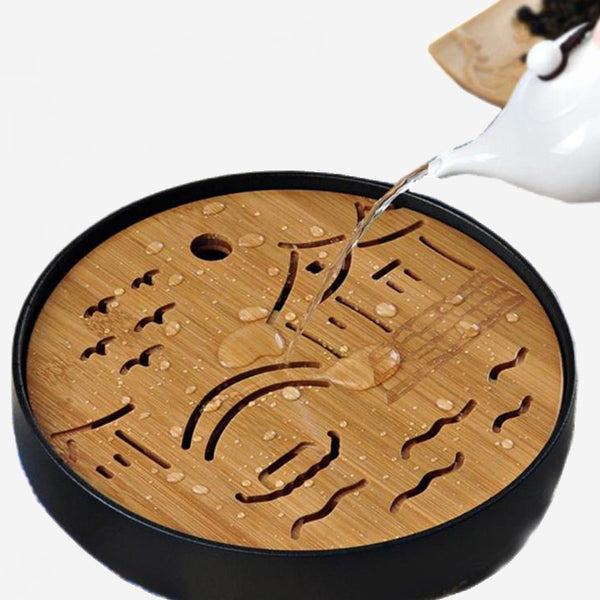Ceramic Bamboo Tea Tray with Drainage Water storage Trend