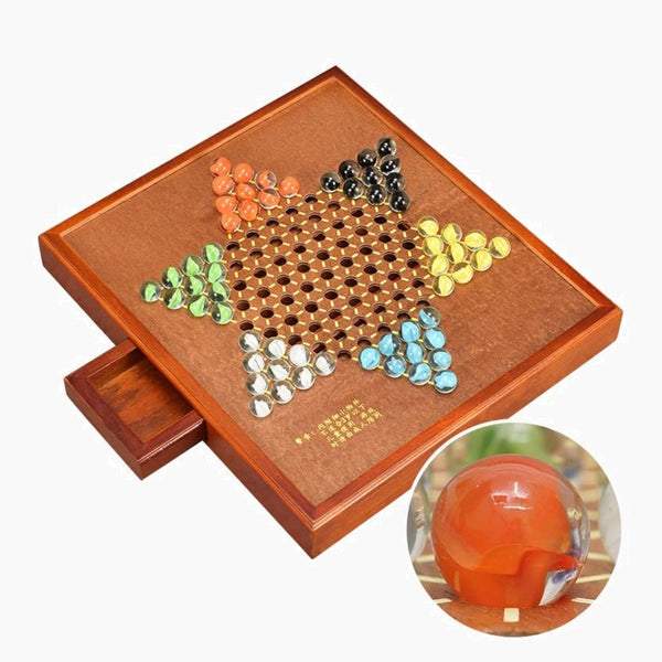 Chinese Checkers Chess Set High Grade Multicolor Glass Agate Fine Wooden Hexagon Rectangle Chessboard Classic Family Board Games  Trend