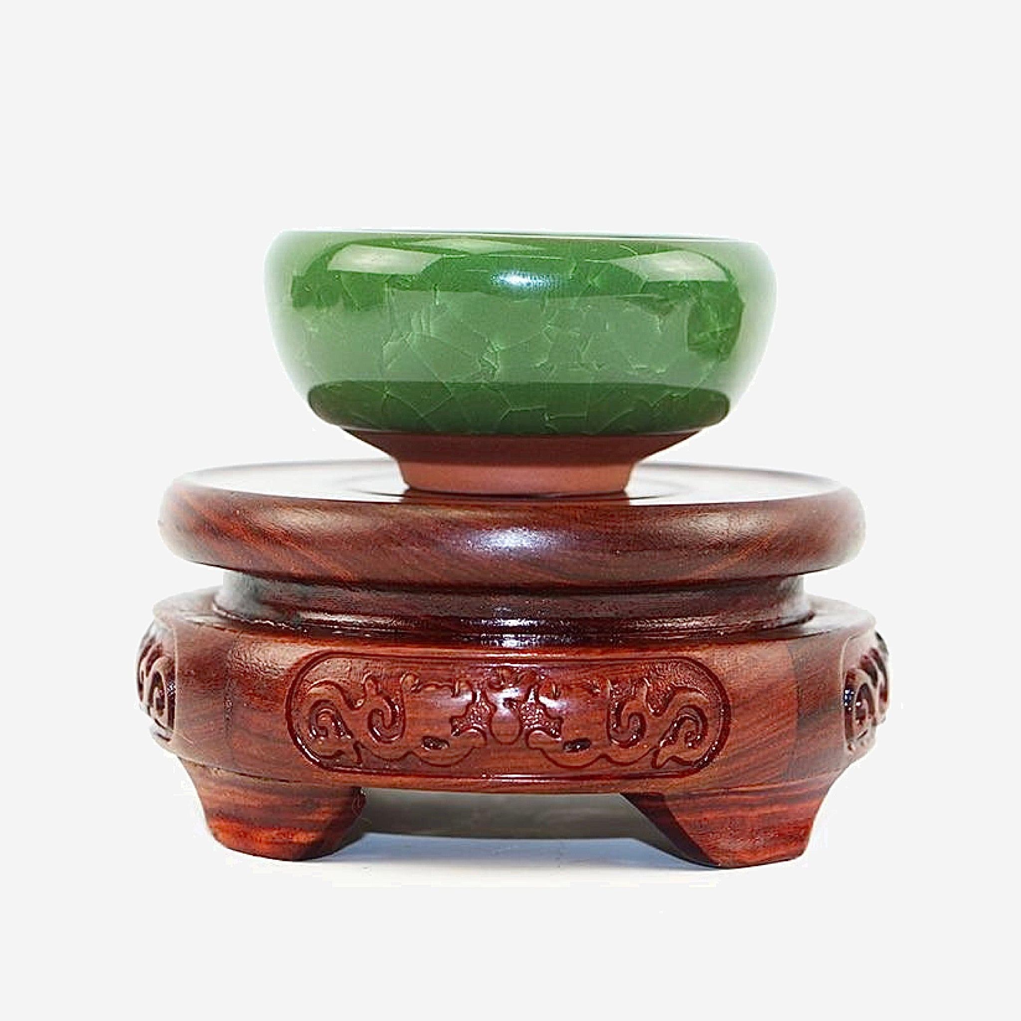 Red Sandalwood Statue Base   6.5-11.5cm Diameter Double Carved Dragon Stone Vase Buddha Incense Flowerpot Wood Carving Teapot Bases Trendy