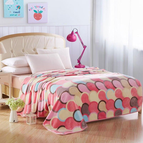 Soft Warm Multicolor Blanket Throw Plush Thick Fleece Multicolour Blankets for Sofa Bed Trend