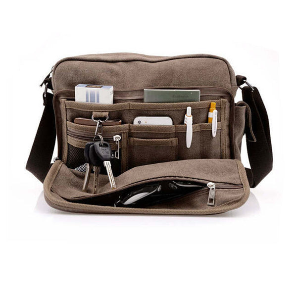 Mens Coffee Brown Crossbody Briefcase Canvas Messenger Bag Mans Travel Bags Fashion Style