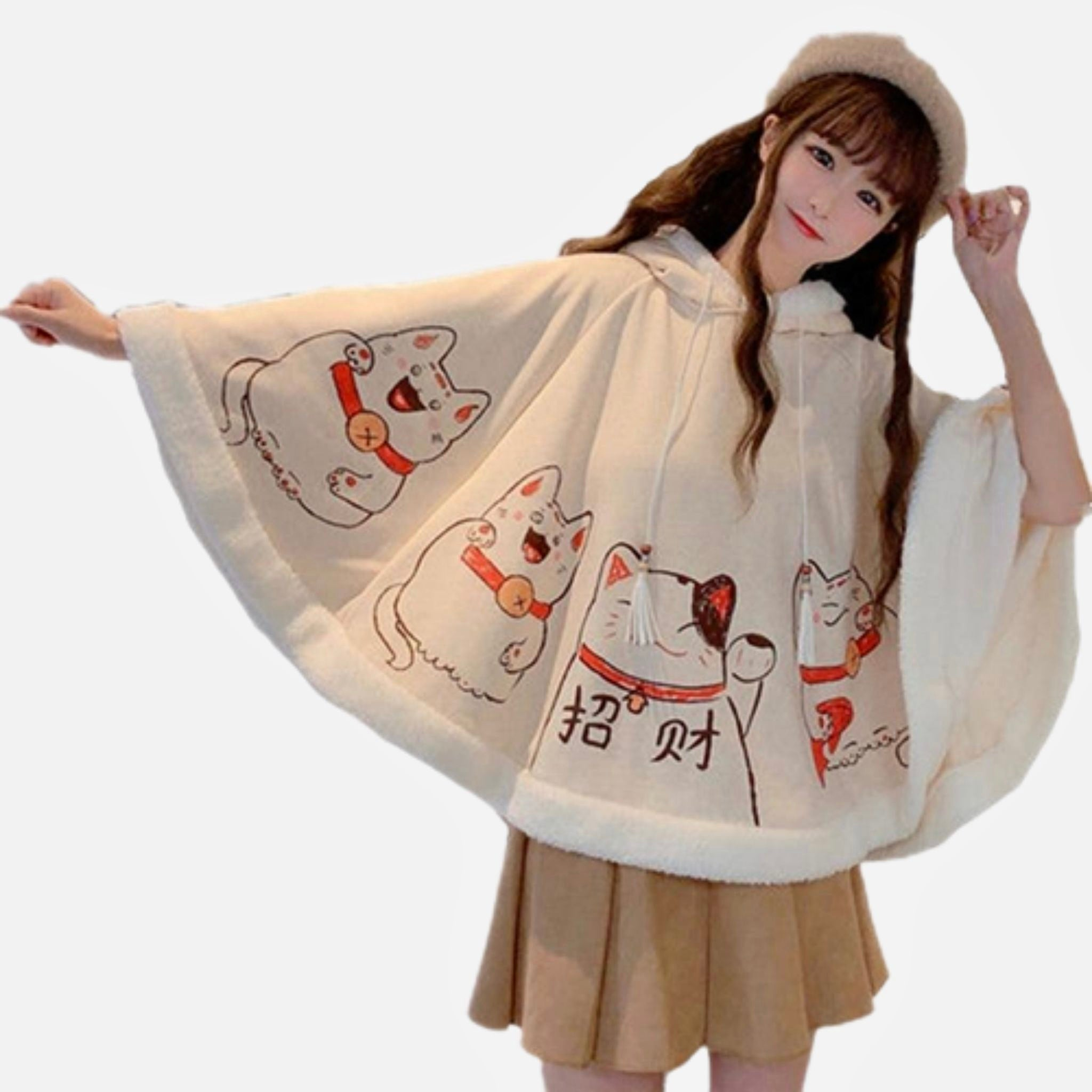 Batwing Fleece Hooded Poncho   Kawaii Ears Japanese Lucky Cat Loose Sleeve Beige Pullover Cape Top Harajuku Hooded Cloak Outwear