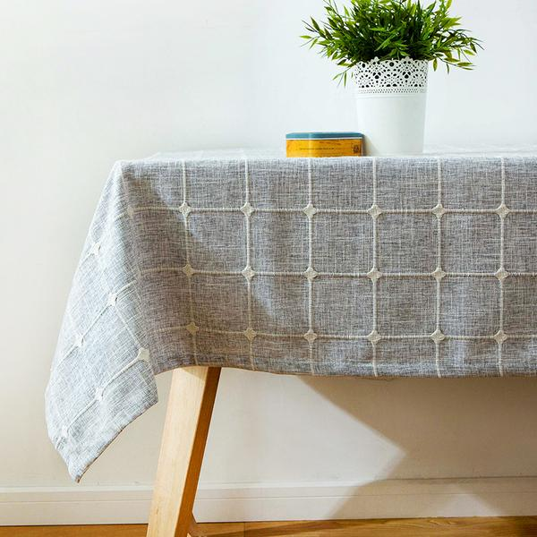 Japanese Gray Plaid Lattice Cotton Linen Tablecloth Japan Grey Dining Room Tableware Home Decor Accessories JPN