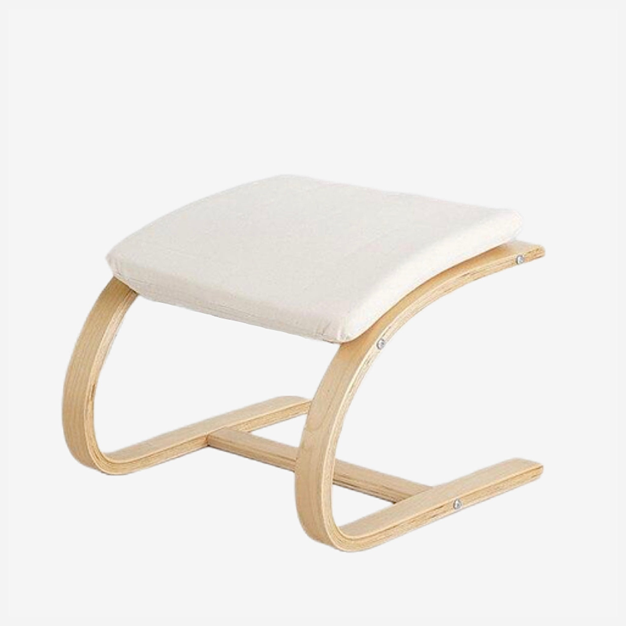 Contemporary Wooden Footstool Comfortable Beige Fabric Cushion Ottoman Chair Small Plywood Wood Footrest Stools Furniture
