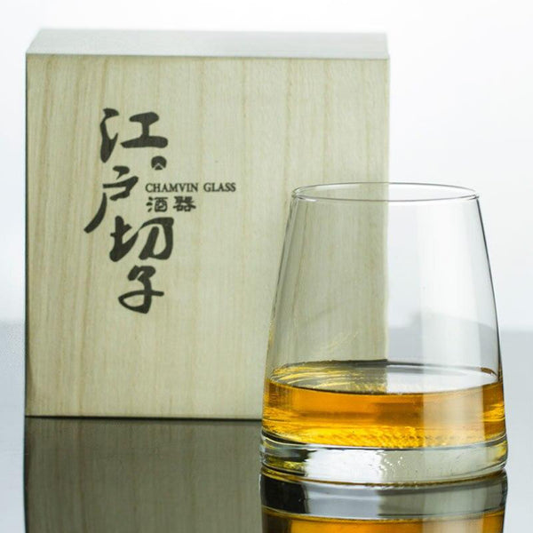 Japan Edo Kiriko Crystal Artwork Whisky Mug Distant Mountains Near Moon Artistic Conception Whiskey Old Fashioned Glass Wine Tasting Tumbler Japan Glassware