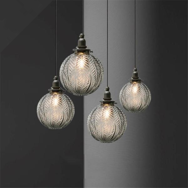 Japanese Smoke gray Leaf pattern glass ball copper pendant lights for dining room kitchen restaurant loft decor hanging lamp Japan Home Decor Lighting Fixtures Accessories