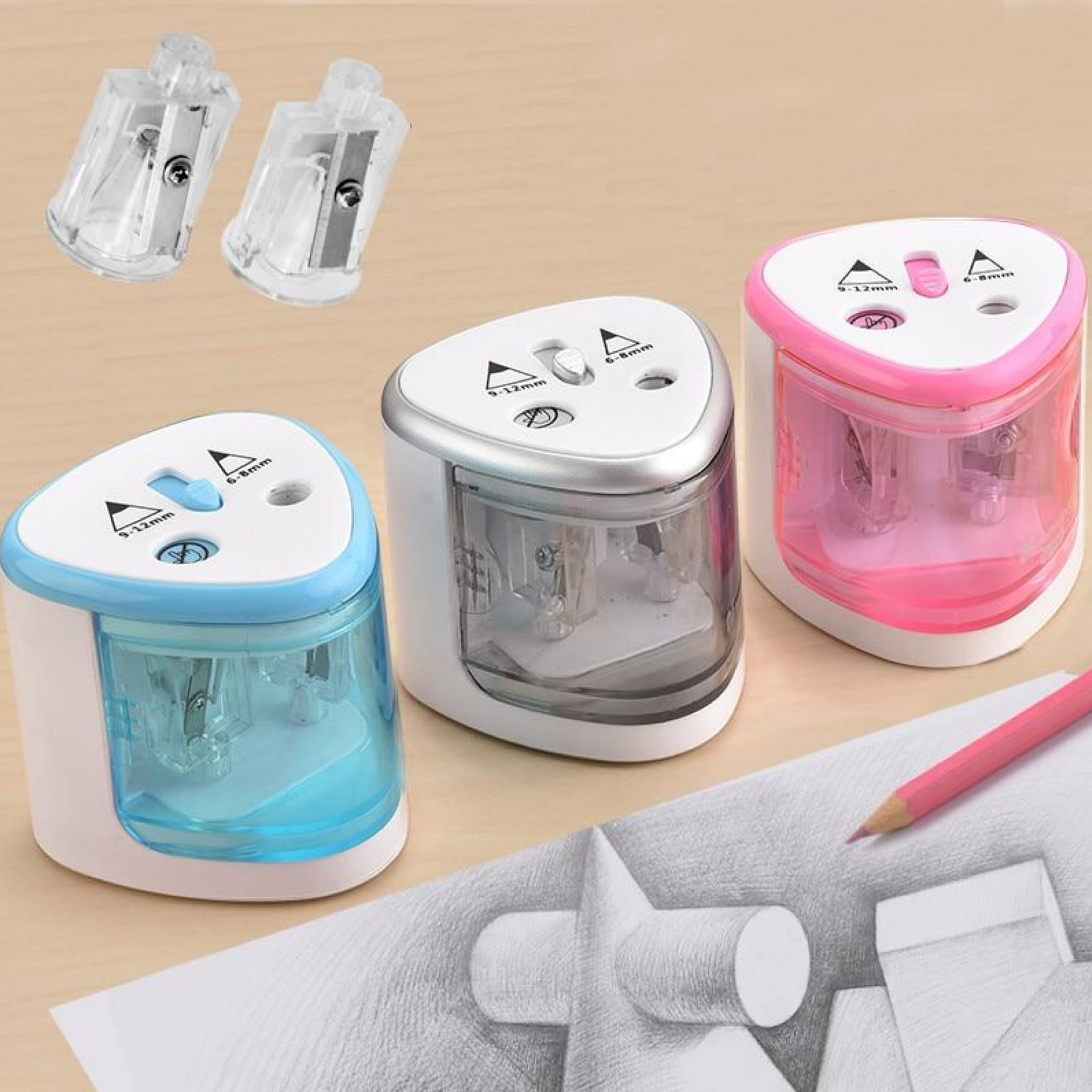 Electric Two Holes Pencil Sharpener Desktop Student Automatic Pencil Sharpeners for Art Painting Stationery Supplies Trend