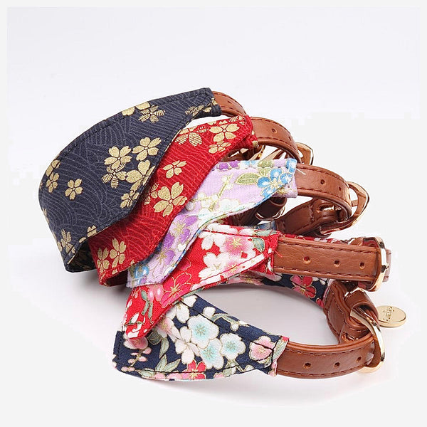Japanese Bandana Pet Collar    Made of leather buckle design fine workmanship triangle scarf Japan pets supplies for cats and dogs Cherry Blossom Trend
