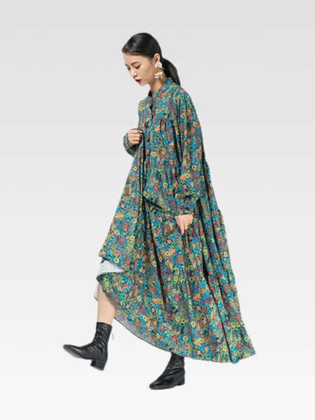 Mockneck Maxi  Dress   Casual green floral print long-sleeve splicing pullover a-line temperament all-match women's boho ankle-length dresses Trend