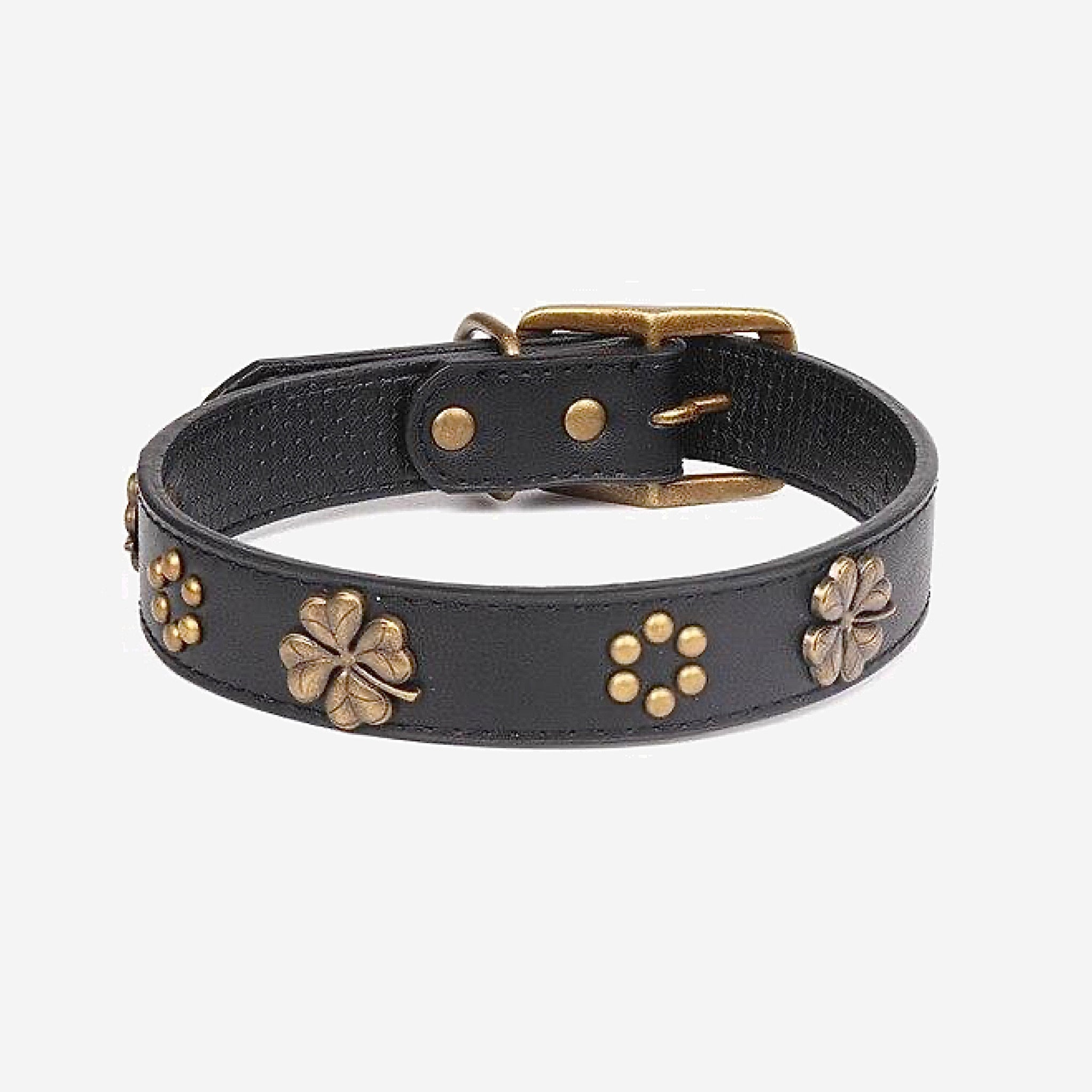Leather Dog Collar    Black Adjustable Copper Shamrock Decoration Dogs Collar Necklace Martingale Pet Accessories Trending Stye
