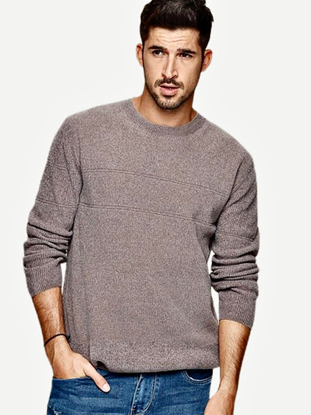 Crossover Textured Crewneck Sweater      Casual Gray / Grey color Knitted O-neck Japanese Pullover Men's Sweaters Trend