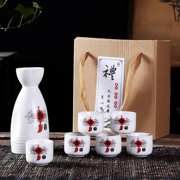 Japanese 6 Piece Red Sake Set Hand Painted Design Porcelain Pottery Traditional Ceramic Cups with Gift Box Japan Trend