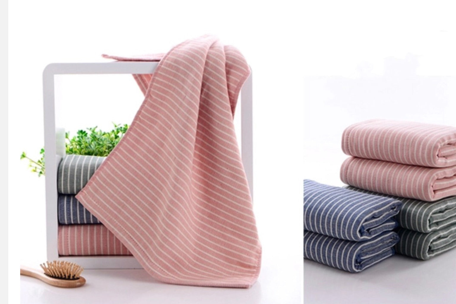Cotton Bath Towel Japanese Striped Fabric Large Towel Japan Stripe Bathroom Linen Bath Towels Style