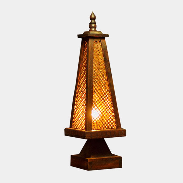 Thai Rattan Wood Table Lamp Antique Creative Desk Lights Cafe Bar Bedroom Bedside Study Lamp Lighting Rustic Accent Thailand Home Decor Trend