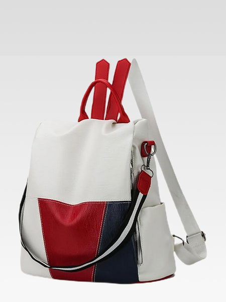 Leather Backpack     Anti-theft white patchwork women's shoulder bag backpacks Trend