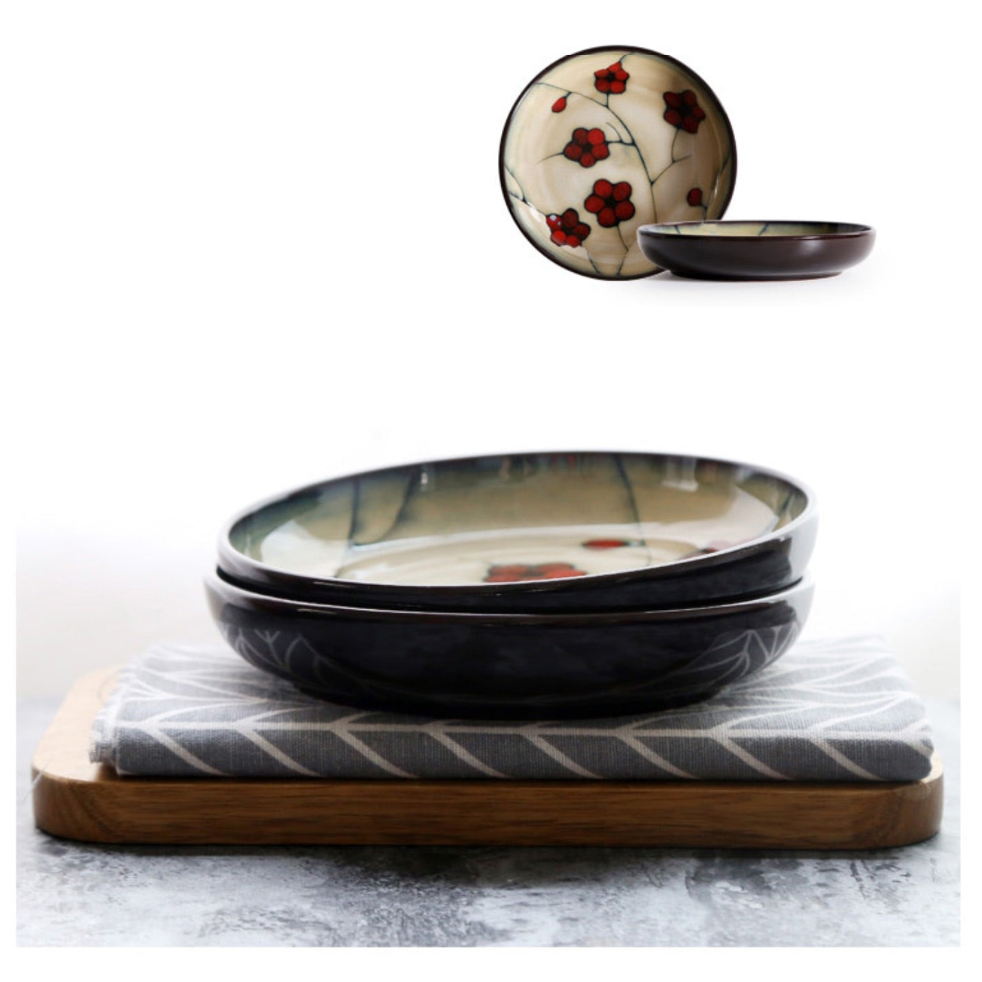 Japanese Red Plum Porcelain Tableware Japan On-Glaze Ceramic Dinnerware Dinner Sets JPN Style G