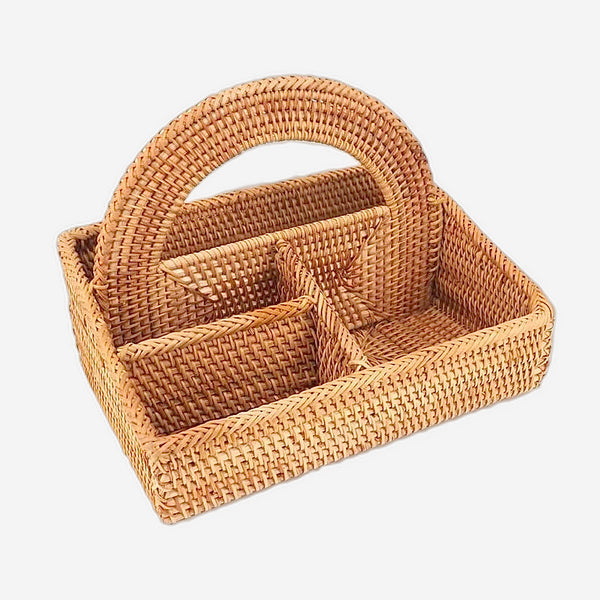 4-lattice Vietnam Rattan Serving Caddy Sundries basket organizer containers Vietnamese home office holder case make up desktop storage Trend