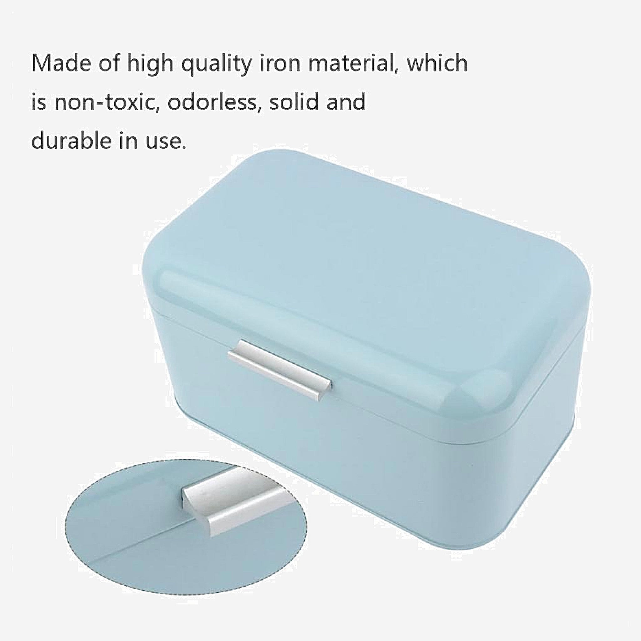 Retro Light Blue Metal Bread Box Bread Storage Organizer Boxes Solid Color Large Capacity Bin Kitchen Storage Container Information