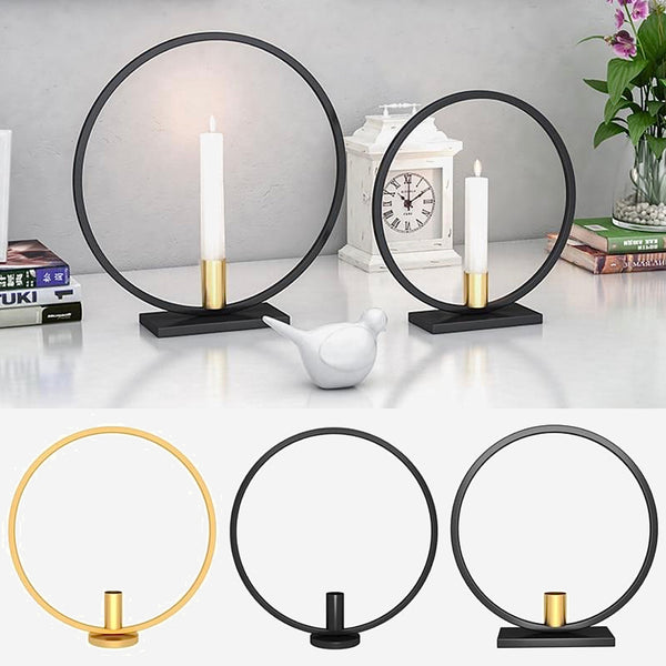 Round Iron Candle Holders Black Gold Candle Rack Metal Candlestick Holder Home Table Centerpiece Decoration Trend
