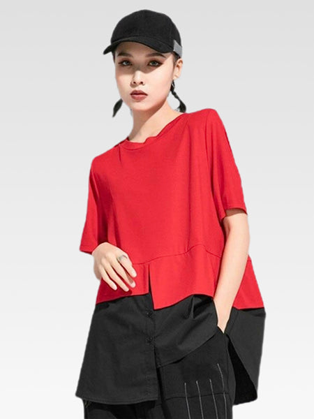 Patchwork Crewneck T-Shirt       Irregular contrast red black color casual loose o-neck collar all-match women's tees tops Trend
