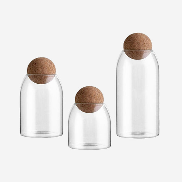 Glass Storage Jar with Cork Ball Lid Kitchen Tank Storage Bottle Borosilicate Glass Sealed Cans Food Grains Container 1600/1200/800/500ML Trend