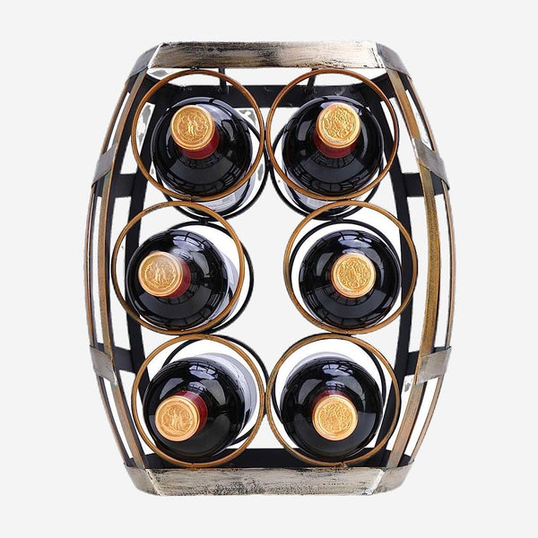 6 Bottle Tabletop Wine Rack Barrel