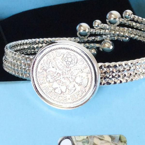 Handmade Designer Comet Tail - British Lucky Sixpence Coin Bracelet Jewelry Choose Your Year Coin Bracelets Jewellery