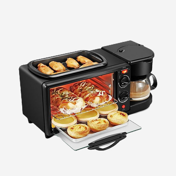 3-way Breakfast Cooker Frying Pan and Under Roaster Bread Toaster Oven Coffee Maker Kettle Triple Multifunction Household Appliance Trend