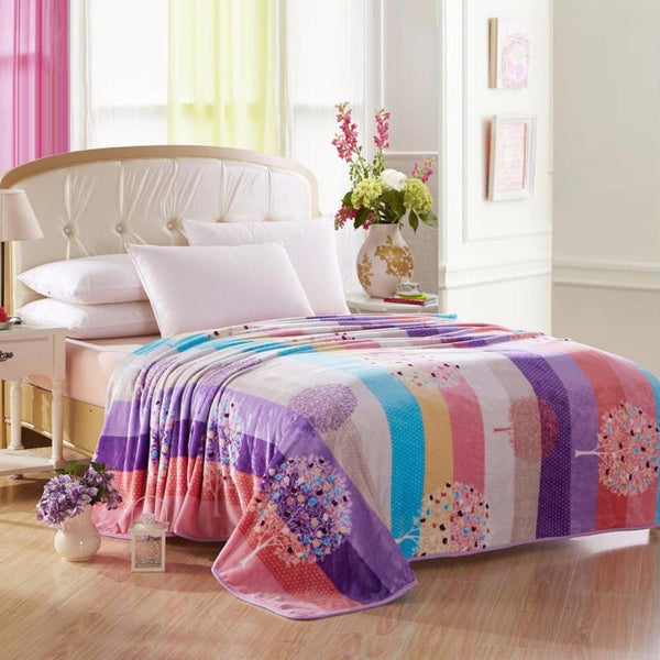 Soft Warm Rainbow Blanket Throw Plush Thick Fleece Multicolor Blankets for Sofa Bed Bedroom Multicolour Home Decor Furnishing Trend