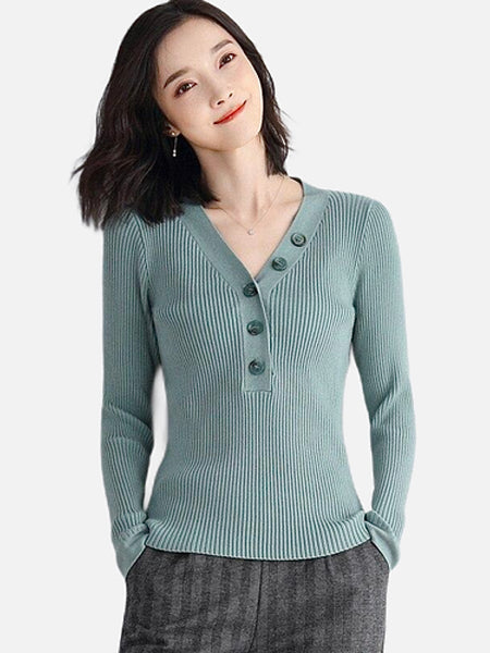 Half Button V-Neck Rib Sweater           Solid light green long sleeve button v neck stretch ribbed knit pullover pull tops Women's sweaters Trend
