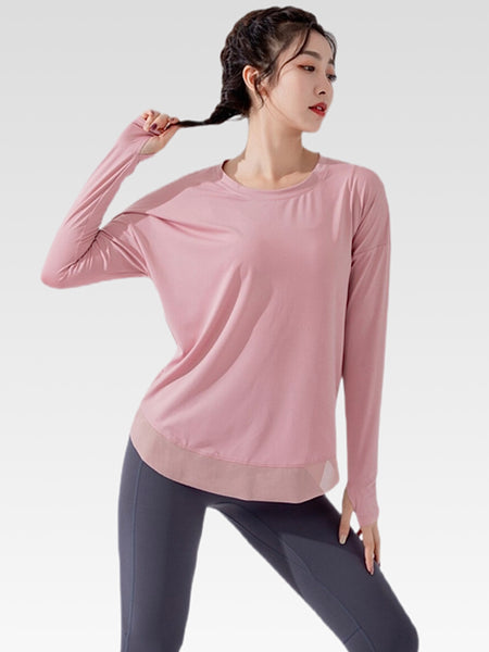 miFit Crewneck T-Shirt        Women's Sports long-sleeve solid pink color Tee tops and blouses Trend